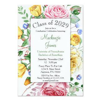 Rosen Rosa Gelbe BlumenAbschluss Einladung Karte