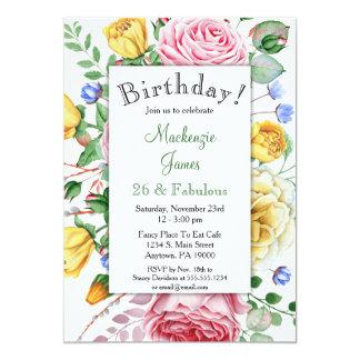 Rosen-rosa gelbe Blumengeburtstags-Einladung 12,7 X 17,8 Cm Einladungskarte