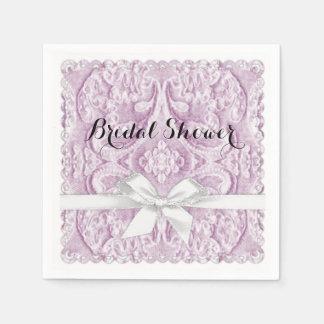 Rosen-rosa Spitze mit Band Serviette
