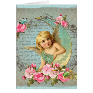 Rosen-Rosaantike des viktorianischen Engels Grußkarte