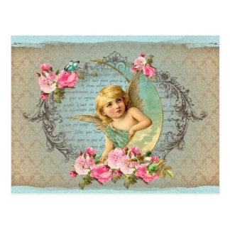 Rosen-Rosaantike des viktorianischen Engels Postkarten