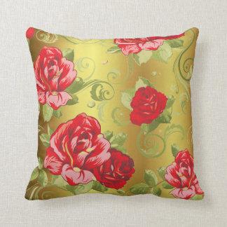 Rosen-rotes Goldgrün-magische Garten-Blumen Kissen