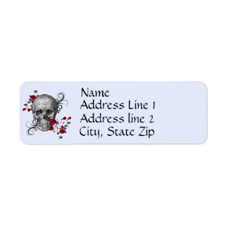 Rosen-Schädel-Adressen-Etikett Kleiner Adressaufkleber