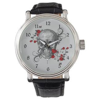 Rosen-Schädel-Uhr Armbanduhr