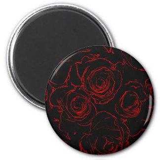 Rosen-schwarzer Hintergrund Runder Magnet 5,7 Cm