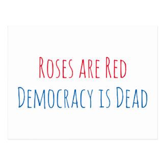 Rosen sind rot, Demokratie ist tot Postkarte
