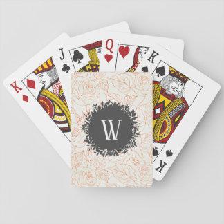 Rosen-Skizze-nahtloses Muster mit Monogramm Spielkarten