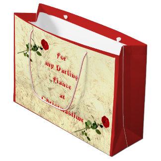 Rosen-süßes Verlobte am Weihnachtsentwurf Große Geschenktüte