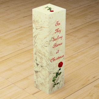 Rosen-süßes Verlobte am Weihnachtsentwurf Wein-Geschenkverpackung