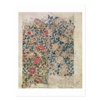 """""""Rosen"""" Tapetenentwurf (Bleistift und w/c auf Postkarte"""
