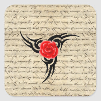 Rosen-Tätowierung Quadratischer Aufkleber
