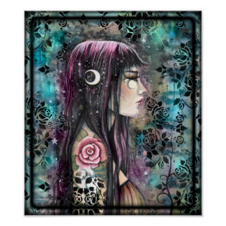 Rosen-Tätowierungs-zeitgenössische Fantasie-Kunst Poster