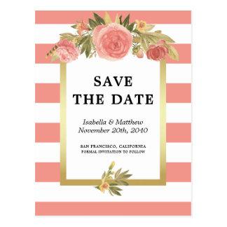 Rosen u. Gold, die Save the Date rosa Streifen Postkarte