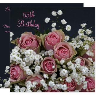 Rosen u. Gypsophila-Blumenstrauß-55. Geburtstag Karte