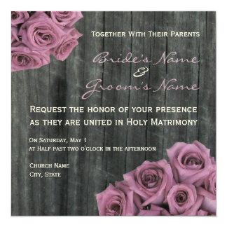 Rosen-und Barnwood Hochzeits-Einladung Quadratische 13,3 Cm Einladungskarte