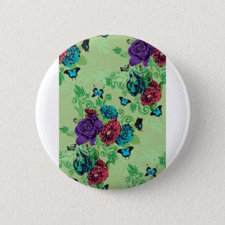 Rosen und Schmetterlings-Verzierung Runder Button 5,1 Cm