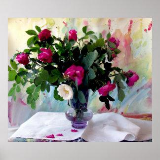 Rosen-Vasen-noch Leben-Druck Poster