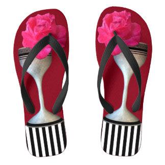 Rosen-Wein-Glas-Streifen Flip Flops