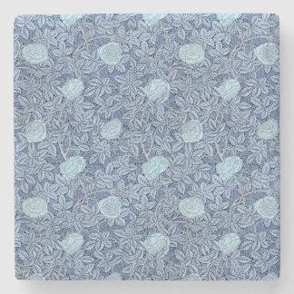Rosen-weißes blaues Muster Steinuntersetzer