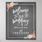Rosen-willkommenes Hochzeits-Zeichen Poster