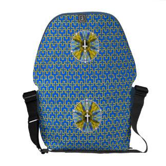Rosenbeet-Traumfänger blau u. gelb Kuriertasche
