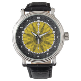 Rosenbeet-Traumfänger-Gelb Armbanduhr