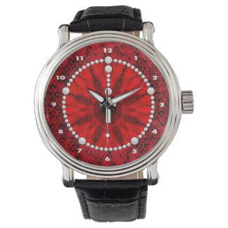 Rosenbeet-Traumfänger-Rot Uhr