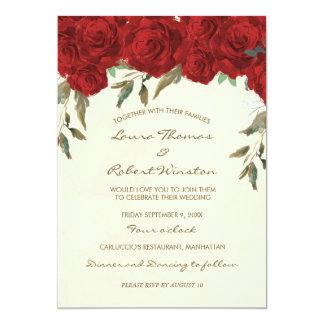 Rosenblumenelfenbein-Hochzeitseinladung 12,7 X 17,8 Cm Einladungskarte