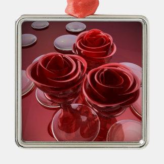 Rosenglas Quadratisches Silberfarbenes Ornament