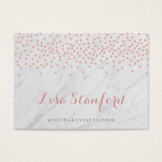 Rosengoldconfetti und Marmorgeschäftskarte Visitenkarte