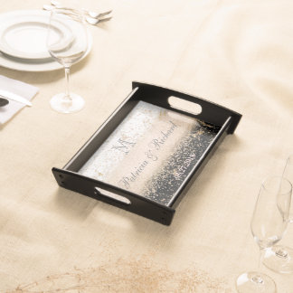 Rosengoldconfettimarmor-Hochzeitsgrafik Serviertablett