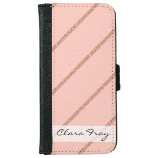 RosengoldGlitter-Pastellpfirsich stripes Muster Geldbeutel Hülle Für Das iPhone 6/6s