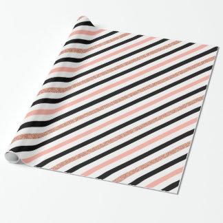 RosengoldGlitter-Pastellrosa stripes Muster Geschenkpapier
