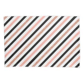 RosengoldGlitter-Pastellrosa stripes Muster Kissen Bezug
