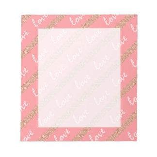 RosengoldGlitter stripes Liebetypographiemuster Notizblock