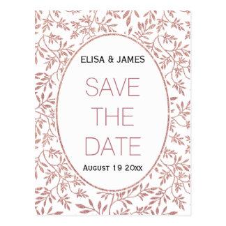 RosengoldGlitter verlässt wedding Save the Date Postkarte