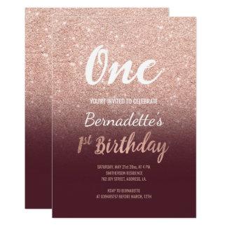 RosengoldGlitterburgunder ombre erster Geburtstag Karte