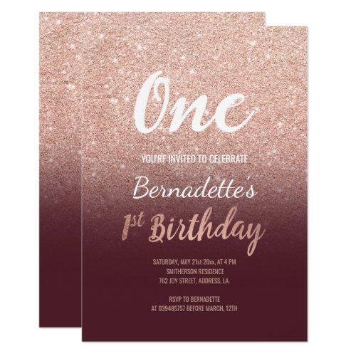 RosengoldGlitterburgunder Ombre Erster Geburtstag Karte ...