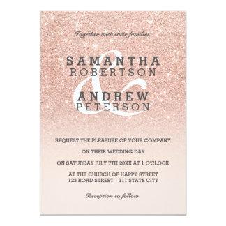 RosengoldImitat-Glitterrosa ombre 12,7 X 17,8 Cm Einladungskarte