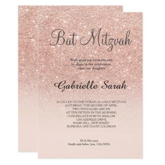 RosengoldImitat-Glitterrosa ombre Schläger Mitzvah 12,7 X 17,8 Cm Einladungskarte