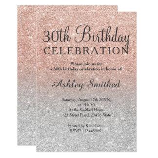 RosengoldImitat-Glittersilber ombre 30. Geburtstag Karte