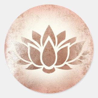 Rosengoldlotos-Blume Runder Aufkleber
