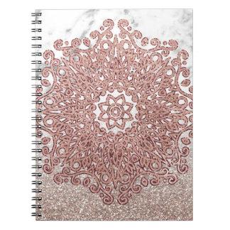 Rosengoldmandalamarmor-Glitter ombre Spiral Notizblock