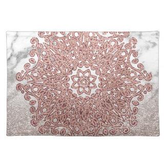 Rosengoldmandalamarmor-Glitter ombre Tischset