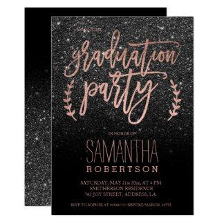 Rosengoldskriptschwarz-Glitter-Abschluss-Party Karte