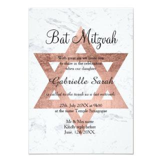 Rosengoldtypographie-Marmor Schläger Mitzvah 12,7 X 17,8 Cm Einladungskarte