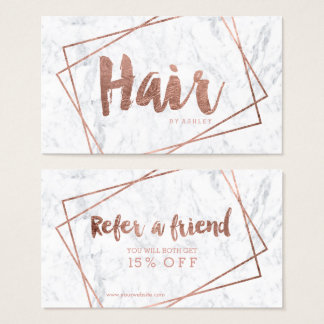 Rosengoldtypographiemarmor der Haarempfehlung Visitenkarte