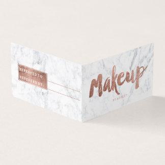 Rosengoldtypographiemarmor der Make-upempfehlung Visitenkarten