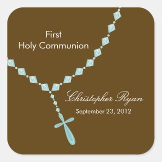 Rosenkranzperle-erste heilige Kommunion blaues Bro Aufkleber