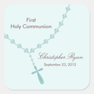 Rosenkranzperle-erstes heilige Kommunions-Jungen-B Quadratsticker